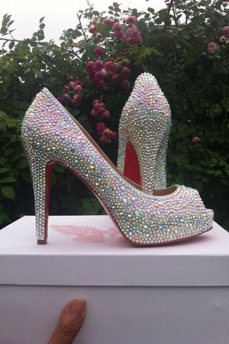 Dazzling crystal AB Strass Crystal High Platform Shoes diamond Rhinestone 4 inch heels wedding shoes Party Prom High Heels