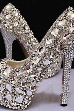 Fashion Silver Rhinestone Wedding Party Prom Shoes Luxury Full Crystal Bridal High Heels Nightclub Pumps