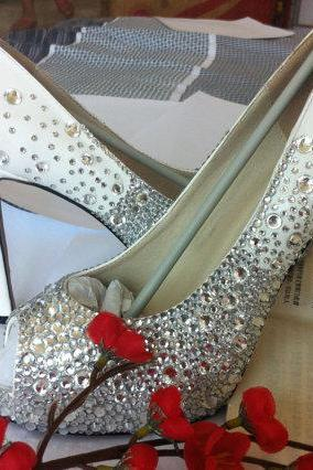New 2015 Beautiful Elegant Crystal Rhinestone Honeymoon High Helel Wedding Bridal shoes Evening Party Shoes