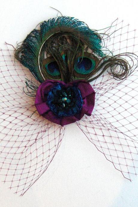 Peacock Feather Magenta Silk Pansy Veil Fascinator.