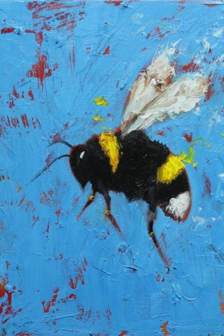 Bee 249 12x12' original oil painting by Roz