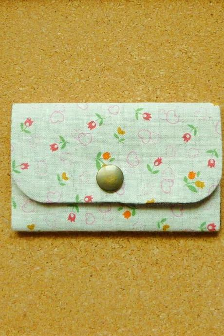 Colorful tulip Cotton Linen Business Card Case - Fabric Card Holder - Flower card case - Gift under 15 - Bag