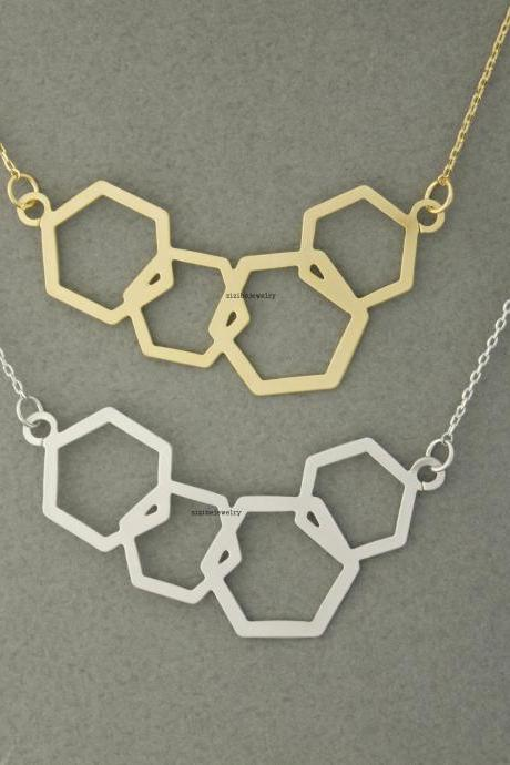 Geometric Pentagon Statement Necklace - Silver or Gold