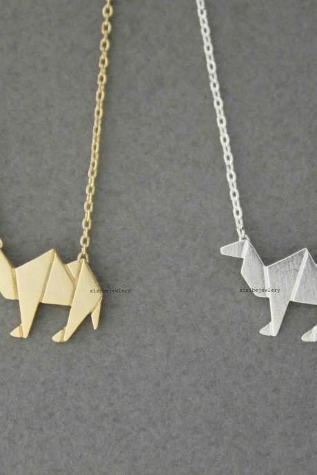 Cute Origami Camel Pendant Necklace in silver/ gold, N0546G