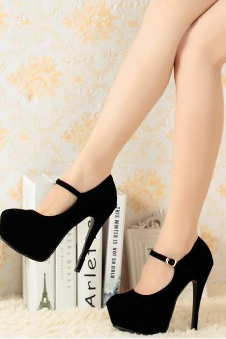 Suede Buckle Design High Heels Shoes In 3 Colors