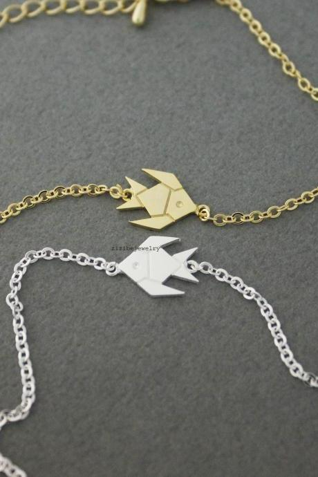 Japanese Origami Fish Charm Bracelet - Gold / Silver