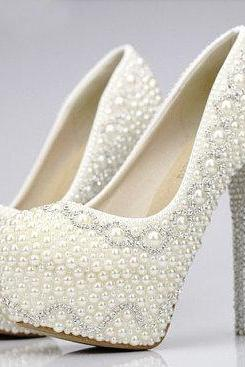 Pearl High Heels Party Prom Shoes Rhinestone White Crystal Bridal Wedding  Shoes Lady Formal Dress Shoes 56c824511b8f