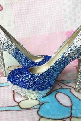 Handmade Rhinestone Royal Blue Silver Gradient Color Wedding Shoes Dress Shoes Pumps bridal bling heel