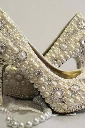 2015 New Style High Quality Luxurious White Imitation Pearl Wedding Shoes Crystal High Heel Shoes for Women Honeymoon
