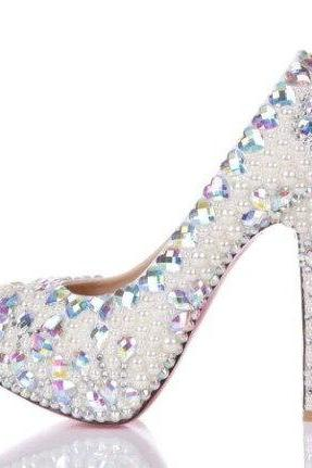 New Style High Quality Luxurious White Pearl Wedding Shoes colorful Crystal heart High Heel Shoes for Women Honeymoon