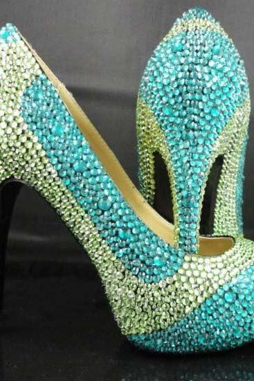 Handmade Crystal Rhinestone Bride Shoes Wedding Pumps Women blue green High Heels Women's Bridal Dress Shoes Prom Heels