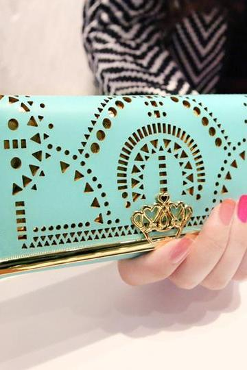 Fashion Crown Geometric Hollow Out Clutch Bag& Wallet