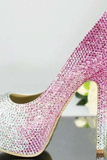 Handmade Crystal Rhinestone Bride Shoes Wedding Pumps Women pink white High Heels Women's Bridal Dress Shoes Prom Heels