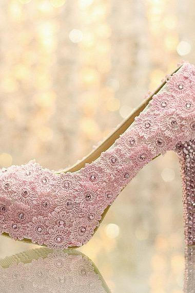 Fashion pink Lace Flower wedding Bridal shoes diamond Girl Dress Shoes Party Prom Shoes for Wedding Anniversary Party