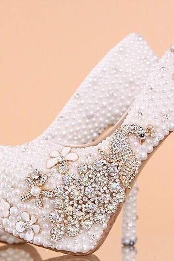 Women's Luxury Crystal Wedding Shoes Rhinestone floral Bridal Shoes Peacock Women Pumps Bride Shoes Handmade