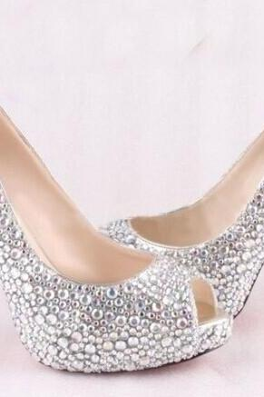 High Quality Luxurious White Rhinestone Wedding Shoes Crystal High Heel Shoes for Women Honeymoon red soles shoes