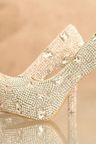 Shinning Rhinestone Wedding Bridal Shoes fashion Ladies Dress Shoes Party Prom Crystal Pumps Bridesmaid Shoes