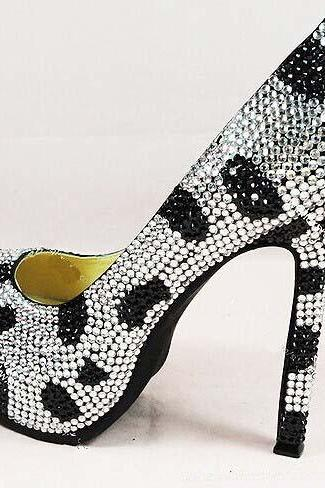 Fashion black white wedding Bridal shoes Cinderella Shoes Girl Dress Shoes Party Prom Shoes for Wedding Party
