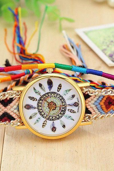 Indian colorful fashion cloth strap watch