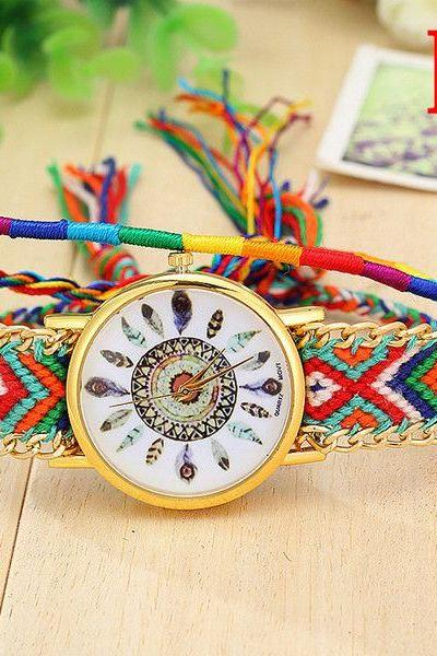 Cloth chain band hippie party unisex watch