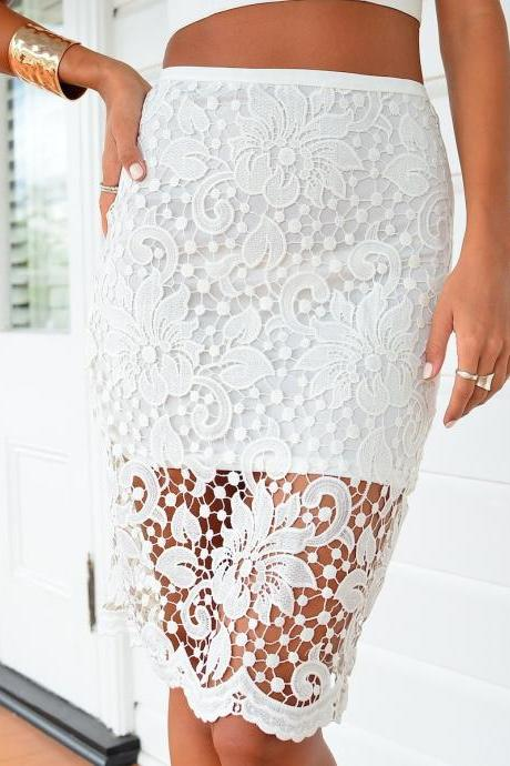 Fashion Crochet Lace Zipper Skirt