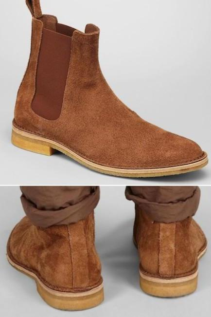 Handmade mens brown Chelsea brown suede leather boots, Men suede leather boot