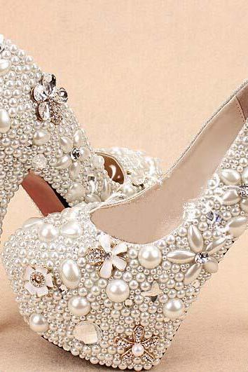 2015 customized Wedding Shoes High Heels pearl flower Bridal Shoes Platform Pumps closed toes bridesmaid high heels