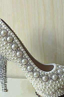 Customized ivory Pearl wedding party Bling heels bridal shoes bridesmaid shoes crystal heels