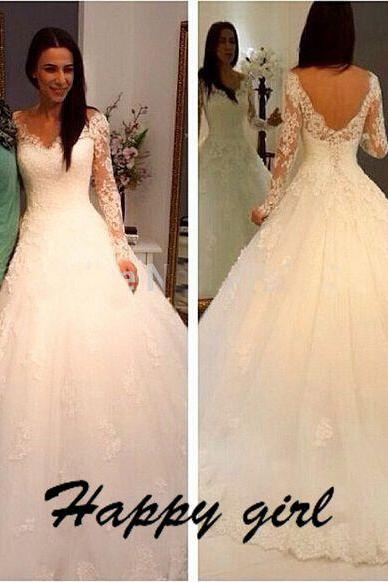 Wedding Dresses 2015, V-Neck Wedding Dresses, Long Sleeve Wedding Dresses, White Wedding Dresses, Modern Wedding Dresses, A-Line Wedding Dresses, Backless Wedding Dresses, Custom Wedding Dresses