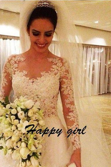 2015 New Arrival Wedding Dresses, Lace Wedding Dresses, Sexy Wedding Dresses, A-Line Wedding dresses, Applique Wedding Dresses, Long Sleeve Wedding Dresses, Custom Wedding Dresses