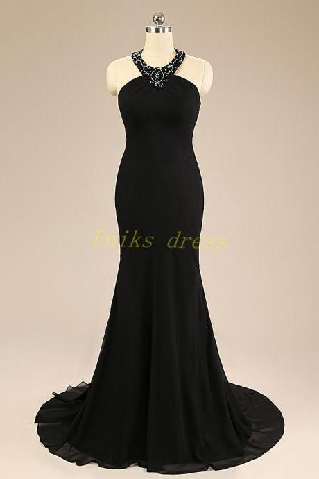 Sexy Halter Backless Long Mermaid Prom Dresses 2015 Hot Sale Sweep Train Beaded Top Chiffon Cheap Plus Size Formal Evening Dresses