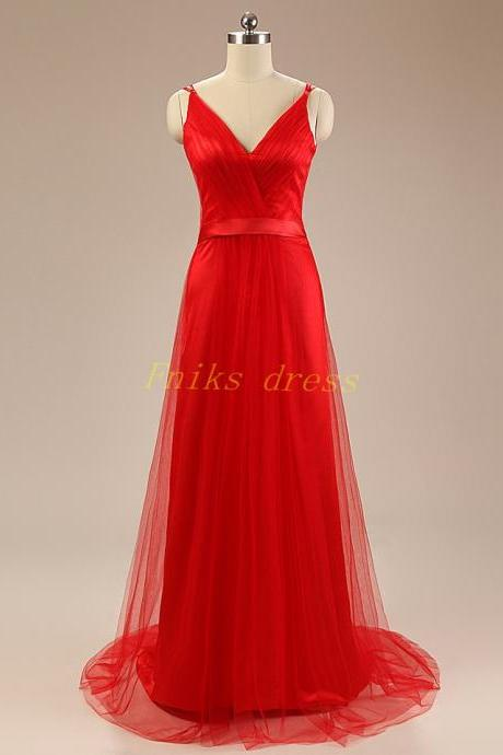 Sexy V Neck Long A Line Red Tulle Long Prom Dresses Plus Size Sweep Train Cheap Price China Custom 2015 Formal Evening Dresses Gowns