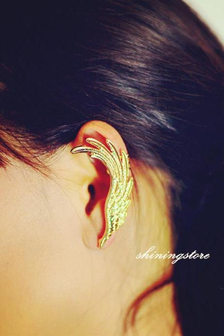 Wing ear cuff ,Gold ear cuff, Elf ear cuff, Cheap jewelry, Bohemain,Punk earrings, Gift for her