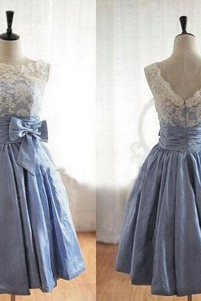 Blue Lace Bridesmaid Dress, Junior Cute Bridesmaid Dresses, Tatteta Cheap Bridesmaid Dress, Short Vintage Bridesmaid Dress, Wedding Party Dresses For Teens