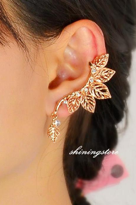 Leaf ear cuff ,Elf ear cuff - Rose gold,Ear Sweep - Leaf, Punk ,Boho, Bohemain earrings - gift for her