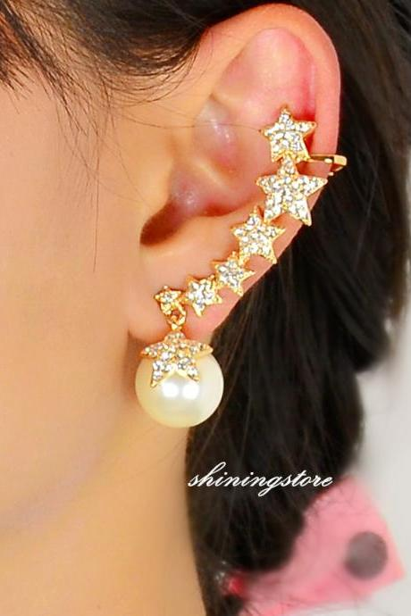 Star ear cuff ,Zircon pearl ear cuff, Pearl earring, Star earring, Bohemain, Boho earrings, Unique jewelry, Gift for her