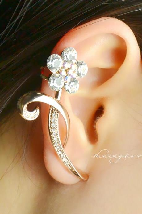 Flower Ear Cuff , Gold ear cuff , Rhinestone ear cuff , Bohemain ear cuff - Right ear