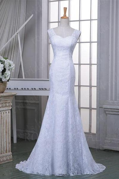 Sleeveless Lace Appliques Mermaid Wedding Dress Featuring Open Back and Sweep Train