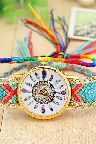 Cloth Chain Band Colorful Unisex Watch