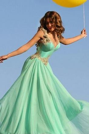 Sexy Mint Prom Dresses, Sweetheart Prom Dress, Chiffon Evening Gowns, Backless Evening Dress, Backless Party Dresses, New Arrival Formal Dress