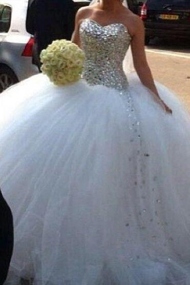 Ball Gown Wedding Dresses, 2016 Tulle Bridal Dresses, Crystal Wedding Dress, Full Beaded Wedding Gowns, Puffy Bridal Gowns, Custom Make Wedding Gowns
