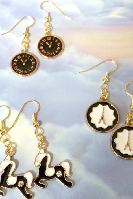 Fashion Earrings Modern Chic Jewelry Gold Dangle Earrings Paris Style French Color Black and White