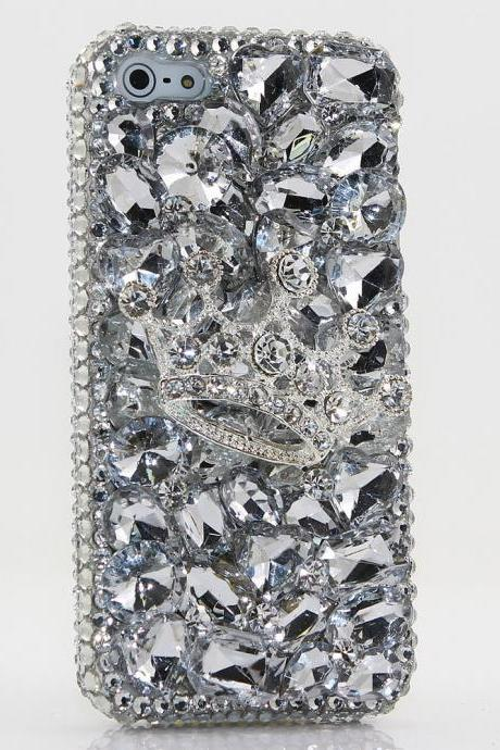 Bling Crystals Phone Case for iPhone 6 / 6s, iPhone 6 / 6s PLUS, iPhone 4, 5, 5S, 5C, Samsung Note 2, Note 3, Note 4, Galaxy S3, S4, S5, S6, S6 Edge, HTC ONE M9 (Clear Diamond Crown Design) By LuxAddiction