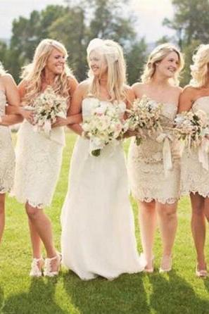 Strapless Bridesmaid Dresses 2015, Lace Bridesmaid Dress, Champagne Bridesmaid Dress, Dresses For Weddings, Cheap Bridesmaid Dress, Short Bridesmaid Dresses 2016