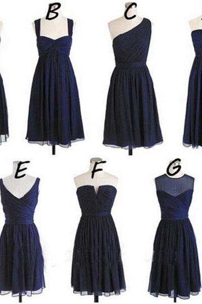 Short Bridesmaid Dresses 2015, Navy Blue Bridesmaid Dress, Cheap Bridesmaid Dresses, Chiffon Bridesmaid Dress, Junior Bridesmaid Dresses, Cute Bridesmaid Dresses, Mismatch Bridesmaid Dress, Navy Dress Bridesmaid, Wedding Party Dresses