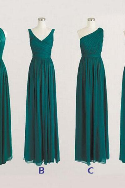 Hunter Green Bridesmaid Dresses, Long Bridesmaid Dress, Mismatched Bridesmaid Dresses, Chiffon Bridesmaid Dress, Cheap Bridesmaid Dress, Bridesmaid Dress, Dresses For Weddings