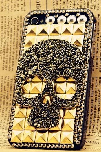 6c 6s plus Gem studded Skull Hard Back Mobile phone Case Cover Unique Case Cover for iPhone 4 4s 5 7 5s 6 6 plus Samsung galaxy s7 s4 s5 s6 note10 4