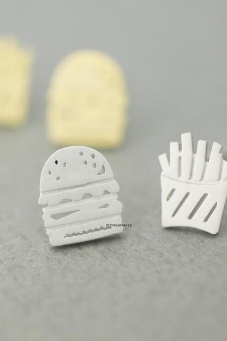 cute and unique Hamburger and French Fries post earrings( gold /silver), E0617S