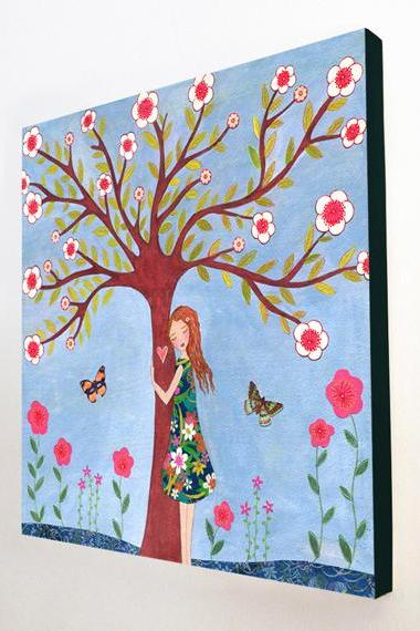 Large Wood Block Print Whimsical Girl Painting - Love Nature