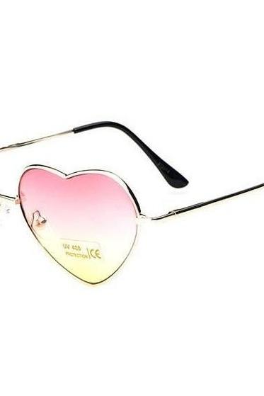 Summer cute heart fashion pink lens sunglasses